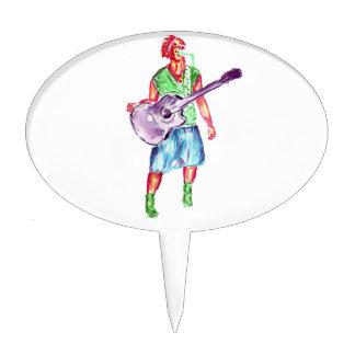 acoustic guitar player female singer musician cake topper