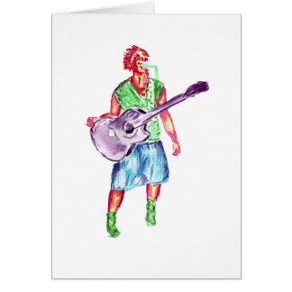 acoustic guitar player female singer musician stationery note card