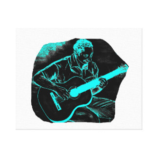 acoustic guitar player invert black turqoise canvas print