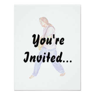 acoustic guitar player jeans feet apart 4.25x5.5 paper invitation card