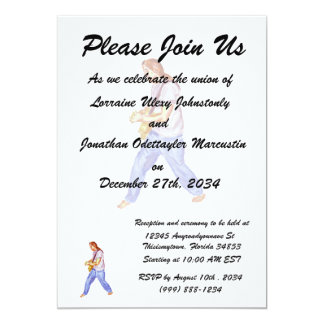 acoustic guitar player jeans feet apart 5x7 paper invitation card