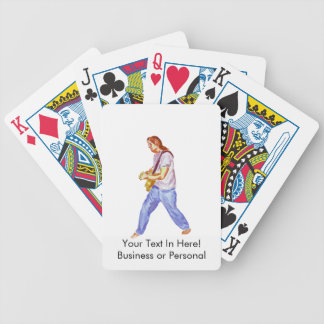 acoustic guitar player jeans feet apart bicycle playing cards
