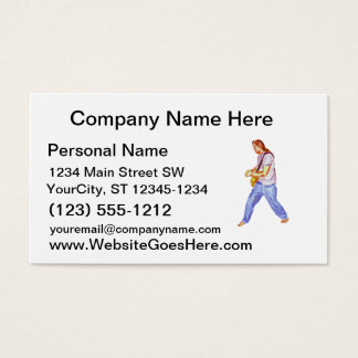 acoustic guitar player jeans feet apart business card