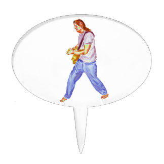 acoustic guitar player jeans feet apart cake topper