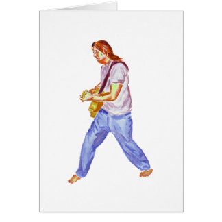 acoustic guitar player jeans feet apart card