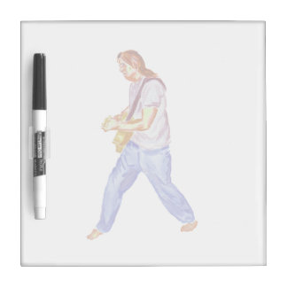 acoustic guitar player jeans feet apart Dry-Erase board