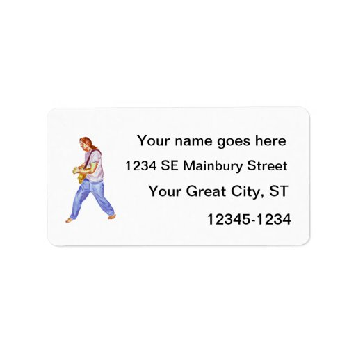 acoustic guitar player jeans feet apart personalized address label