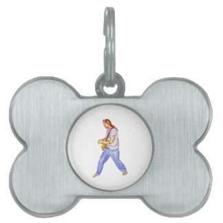 acoustic guitar player jeans feet apart pet ID tag
