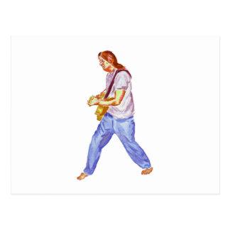 acoustic guitar player jeans feet apart postcard