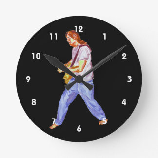 acoustic guitar player jeans feet apart round clock