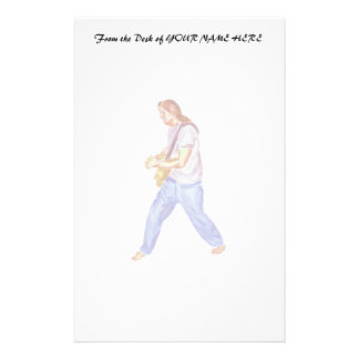 acoustic guitar player jeans feet apart stationery