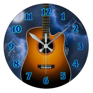 Acoustic Guitar Player Large Clock