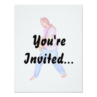 acoustic guitar player pink shirt  jeans 4.25x5.5 paper invitation card