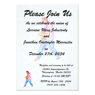 acoustic guitar player pink shirt  jeans 5x7 paper invitation card