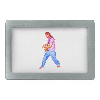 acoustic guitar player pink shirt  jeans belt buckle