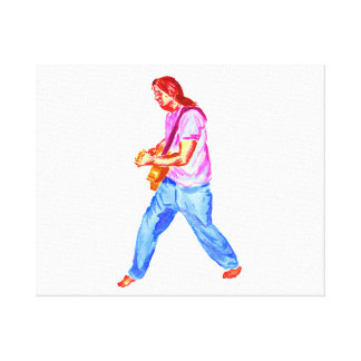 acoustic guitar player pink shirt  jeans gallery wrap canvas