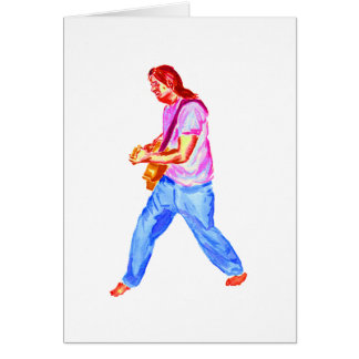acoustic guitar player pink shirt  jeans card