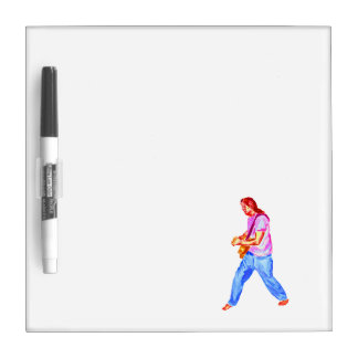 acoustic guitar player pink shirt  jeans dry erase boards
