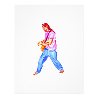 acoustic guitar player pink shirt  jeans full color flyer