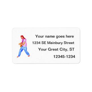 acoustic guitar player pink shirt  jeans custom address labels