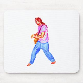 acoustic guitar player pink shirt  jeans mousepad