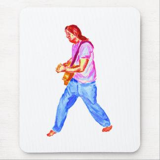 acoustic guitar player pink shirt  jeans mousepads