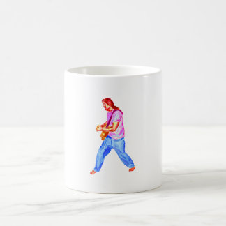 acoustic guitar player pink shirt  jeans coffee mugs