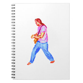 acoustic guitar player pink shirt  jeans spiral notebooks