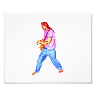 acoustic guitar player pink shirt  jeans photograph