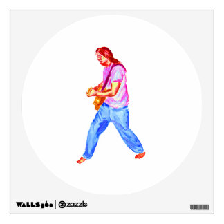 acoustic guitar player pink shirt  jeans wall sticker