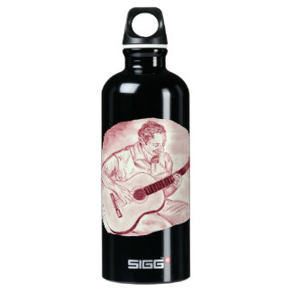 acoustic guitar player sit burgundy sketch aluminum water bottle
