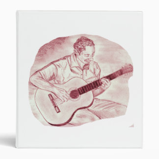 acoustic guitar player sit burgundy sketch 3 ring binder
