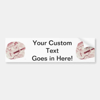 acoustic guitar player sit burgundy sketch bumper sticker