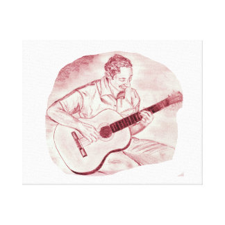acoustic guitar player sit burgundy sketch canvas print