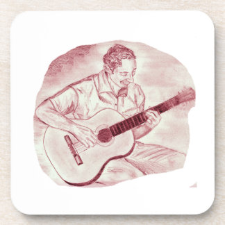 acoustic guitar player sit burgundy sketch coaster