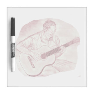 acoustic guitar player sit burgundy sketch dry erase board