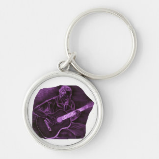 Acoustic guitar player sit purple invert keychain