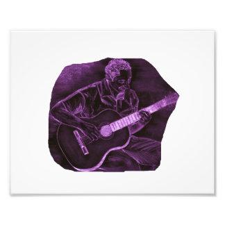 Acoustic guitar player sit purple invert photo print