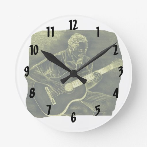 acoustic guitar player sit yellow invert round wall clock