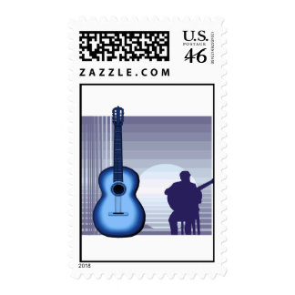 acoustic guitar player sitting bluish png stamp