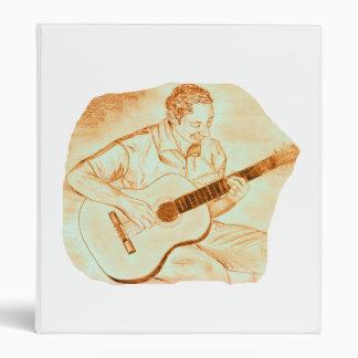 acoustic guitar player sitting pencil orange 3 ring binders