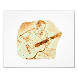 acoustic guitar player sitting pencil orange art photo