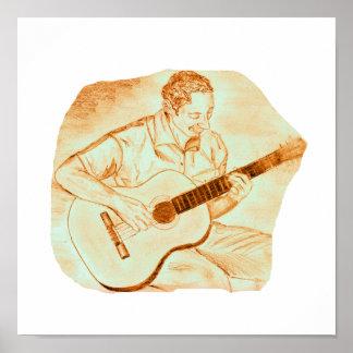 acoustic guitar player sitting pencil orange posters