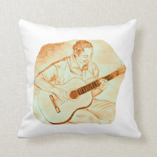 acoustic guitar player sitting pencil orange throw pillow