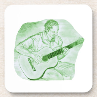 acoustic guitar player sitting pencil sketch green beverage coaster