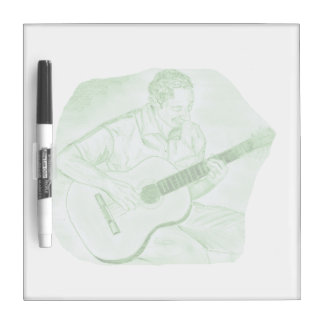 acoustic guitar player sitting pencil sketch green dry erase board