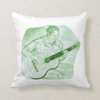 acoustic guitar player sitting pencil sketch green throw pillow
