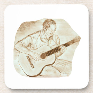 acoustic guitar player sitting pencil sketch sepia coaster