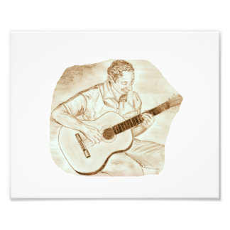 acoustic guitar player sitting pencil sketch sepia photo