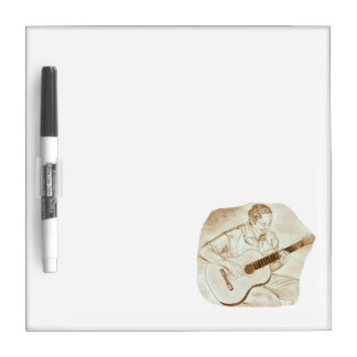 acoustic guitar player sitting sepia dry erase board